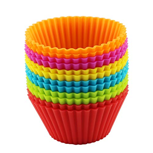 Silicone Cupcake Baking Cups for Kitchen Baking Supplies,Can Be Reusabled Molds for Baking,Muffin Liners Cake Supplies,12 in a Box,6 Colors (2.8x2.8x1.4in)