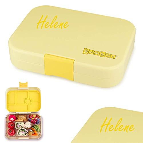 YUMBOX Original (mit 6 Fächern) - PERSONALISIERBAR - Brotbox/Lunchbox/Bento Box mit fester Fächer-Unterteilung - auslaufsichere Brotdose für Schule - ideal zur Einschulung (Sunburst Yellow)