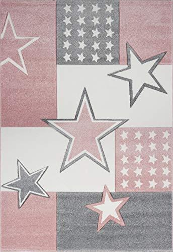 Livone Kuschelweicher Kinderteppich Jugendteppich Sternenteppich Felder Stern in rosa Weiss Creme Silber grau Größe 120 x 170 cm