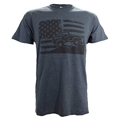 Jeep Wrangler Logo on a Dark Heather T Shirt,X-Large