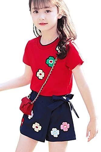 YouKD Conjunto de Ropa de Verano con Estampado 3D para Niñas, Camiseta de Algodón y Jeans Cortos, 5-6 años