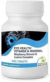 Eyehealth Vitamina & Mineral con Blueberry Extracto & Luteína Complejo 30/60/90/120/180/250 Vegetariana Pastillas Salud Alimentación Visión Suplementos Nutrición Gran Bretaña Calidad en Bottlles