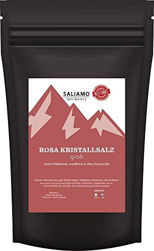 Saliamo Rosa Kristallsalz Steinsalz grob 2-4mm im wieder verschließbaren Beutel - Salz aus Salt Range Pakistan (500g)