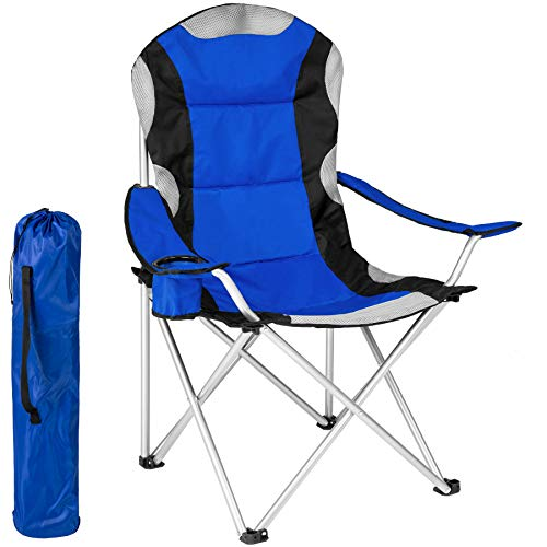TecTake Silla de Camping Plegable + Portabebidas + Práctica Bolsa de Transporte Marco Ø: Unos 19 mm Varias cantidades - (Azul | 401052)