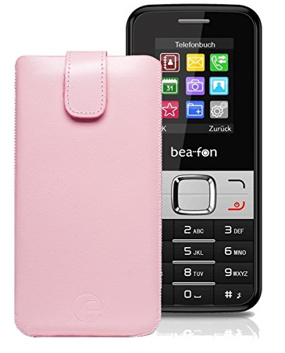 Original Favory Etui Tasche für BEAFON C50 Leder Etui Handytasche Ledertasche Schutzhülle Hülle Hülle Lasche mit Rückzugfunktion* in Rosa