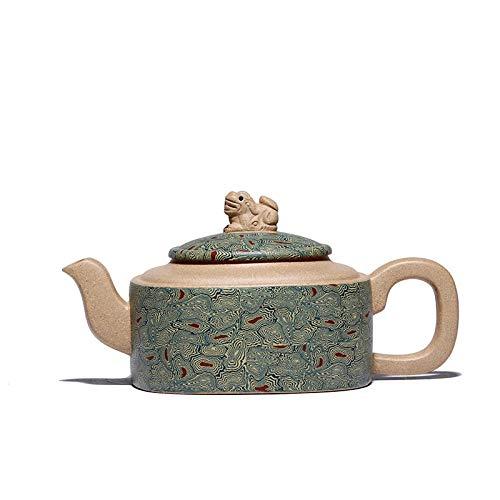 Chino Zisha Yixing Tetera, Handmade Vintage Retro Orientales Exclusivo Diseño Original Tetera De Cerámica De Arcilla Púrpura,220ml, Cloud Lion Carving