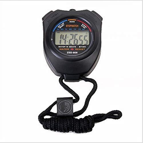 ZhengSuDa ZSD-008 Cronómetro Deportivo Pantalla LCD Digital de Mano Profesional Temporizador de Contador Deportivo con Correa (Negro) (Togames)
