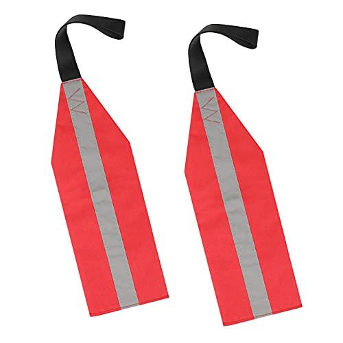 Aytop Banderas de seguridad para barco de kayak, bandera reflectante de seguridad de alta visibilidad con cinta, bandera de advertencia de viaje universal para remolques de viaje, canoa, 2 paquetes