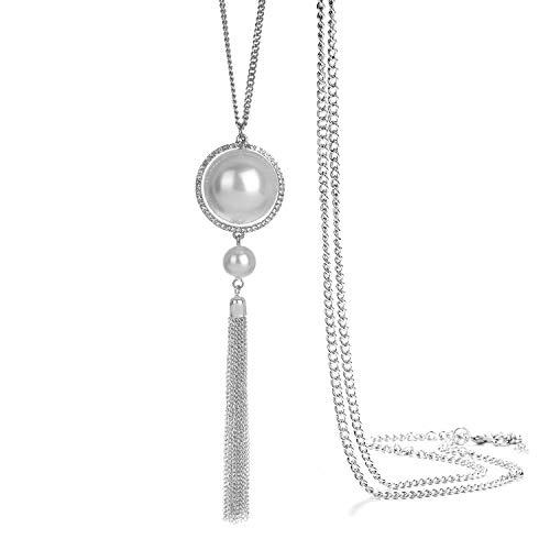 ONNEA Collares Plata Largos con Colgante Perlas Borla para Mujer