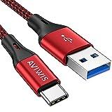 Cable USB Tipo C 3.0 1M, AVIWIS 3A Cargador Tipo C Carga Rápida y Sincronización Cable USB C a USB 3.0 Compatible con Samsung Galaxy S20 S10 S9 S8 A51 Note 10/9, Huawei P30 P20, Redmi, Mi A1/Mi A2