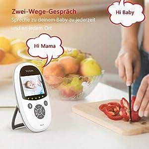 """Victure Babyphone mit Kamera, Baby Monitor Video Überwachung mit 2.4"""" Digital LCD Bildschirm Wireless,Gegensprechfunktion,VOX, Nachtsicht, Wecker, Temperaturüberwachung, Wiederaufladbarer Akku"""