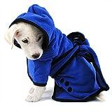 Wallfire Pet Dog Hooded Bathrobe Bath Towel Coat, Super Absorbent Microfiber Pet Bathrobe Fast Drying Towel with Belt for Dogs Puppy Cats L