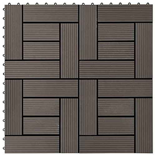 HUANGDANSP Baldosas de Porche de WPC 30x30 cm 1 m² marrón Oscuro 11 uds Bricolaje Materiales de construcción Suelos y moquetas
