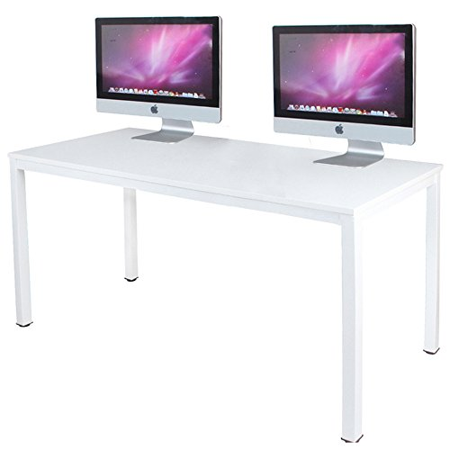 DlandHome 63 inches X-Large Computer Desk, Composite Wood Board School Desk, Decent and Steady Home Office Desk/Workstation/Table, BS1-160WW, White and White Legs, 1 Pack