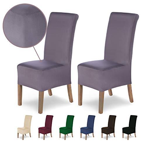 SCHEFFLER-Home Stretch Stuhlhusse Lena | 2er Set elastische Stuhlabdeckungen | Stuhlhussen Schwingstühle | Spannbezug mit Gummiband | Elegante Stuhlbezüge