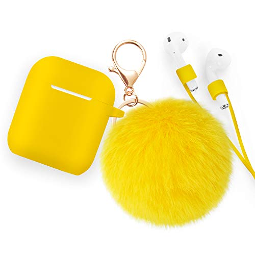 for Airpods Case - BlUEWIND Drop Proof Air Pods Protective Pom Pom Keychain Case Cover Silicone Skin for Apple Airpods 2 & 1 Charging Case, Cute Fur Ball Airpods Keychain/Strap (Yellow)