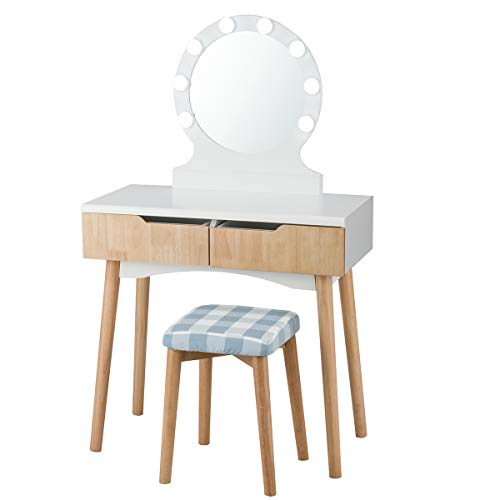 Giantex Vanity Set with Round Lighted Mirror, Makeup Dressing Table with 8 Light Bulbs and Brightness Adjustable, Bedroom Makeup Table with Cushioned Stool and 2 Sliding Drawers (Natural)