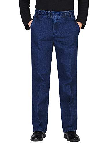 IDEALSANXUN Men's Elastic Waist Denim Solid Casual Pants (#1 Dark Blue, 46)