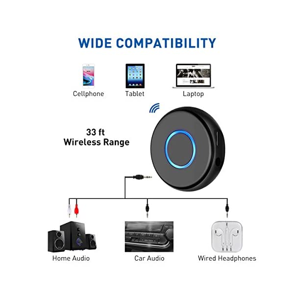 Mini Bluetooth 4.2 Receiver,Wireless Audio Bluetooth Adapter, Portable Hands-Free Car Kits for 3.5mm Audio Devices,TV,Home/Car Stereo Music Streaming Sound System 6