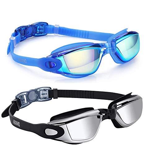 aegend Pack of 2(Blue Mirrored Lenses&Black Silver Lenses) Triathlon-Schwimmbrille, verspiegelt, dicht, Anti-Beschlag-Schutz, UV-Schutz, inklusive Schutzhülle, für Damen, Herren, Jugendliche, Kinder