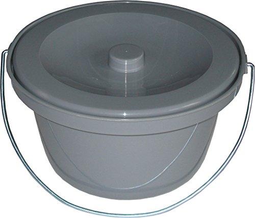 Pflegehome24® Toilettenstuhleimer universal, Grau, Geruchsverschluß - Toiletteneimer