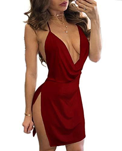 OUTLETISSIMO® Mini vestido rojo granate con abertura lateral vestido sexy espalda descubierta Maxishirt talla mediana Z005