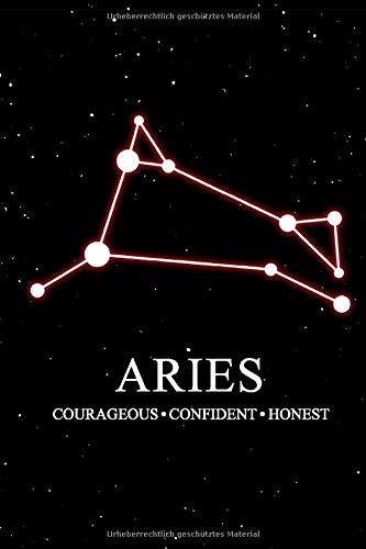 Aries Courageous Confident Honest: DIN A5 Notizheft | 110 Seiten liniert | Sternbild Notizbuch | Sternzeichen Widder | Sternbild vom Widder | geschenkidee