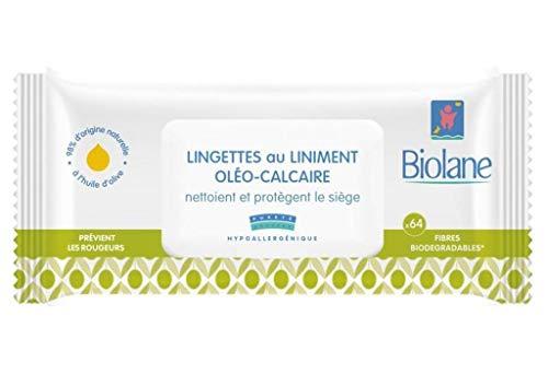 Biolane - Toallitas limpiadoras de lino oleo-calcáreo para proteger el asiento x 64 (lote de 6 unidades o 384 toallitas)