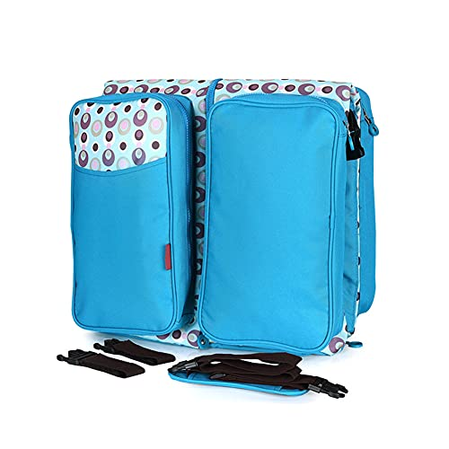 Blue Folding Crib Nappy Bag, Multifunction Large Capacity Diaper Bag with Mosquito Net...