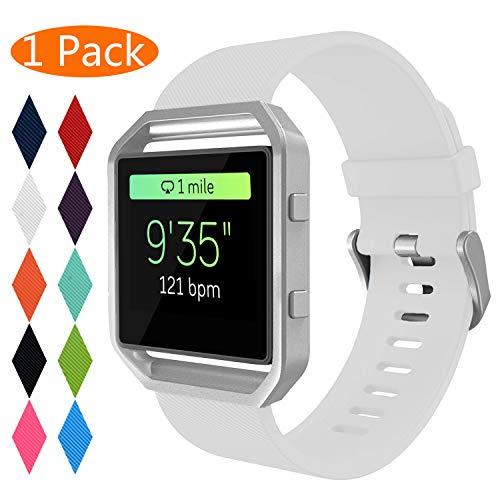 """Correa para Fitbit Blaze,KingAcc Silicona Suave Pulsera de Respueto con Hebilla de metal Compatible con Fitbit Fitbit Blaze smartwatch (Grande(6.5"""" - 8.5""""), D # 1-Pack Blanco)"""