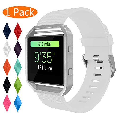 Correa para Fitbit Blaze,KingAcc Silicona Suave Pulsera de Respueto con Hebilla de metal Compatible con Fitbit Fitbit Blaze smartwatch (Grande(6.5' - 8.5'), D # 1-Pack Blanco)