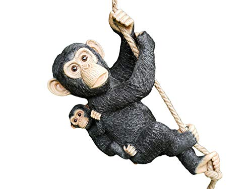 Daisy Bumbles Novelty, Hanging Swinging Monkey, Chimpanzee & Baby - Garden Ornament, Home Decoration, Figure, Statue, Sculpture, Outside or Inside, Outdoors or Indoors, Swinging Garden Ornament