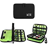 Electronics Organizer, Jelly Comb Electronic Accessories Cable Organizer Bag Waterproof Travel Cable Storage Bag for Charging Cable, Cellphone, Mini Tablet (Up to 7.9'') and More (Black and Green)