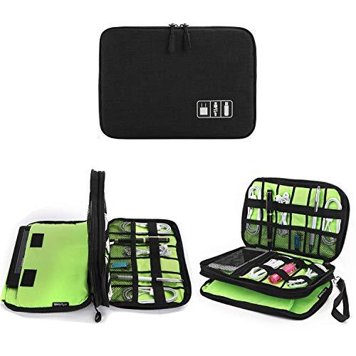 Jelly Comb Kabel Organizer Tasche, Elektronik Organizer Reise Kable Tasche für Kable, Handy, Mini-Tablet (iPad 7.9'') & mehr-Mittel (Schwarz & grün)