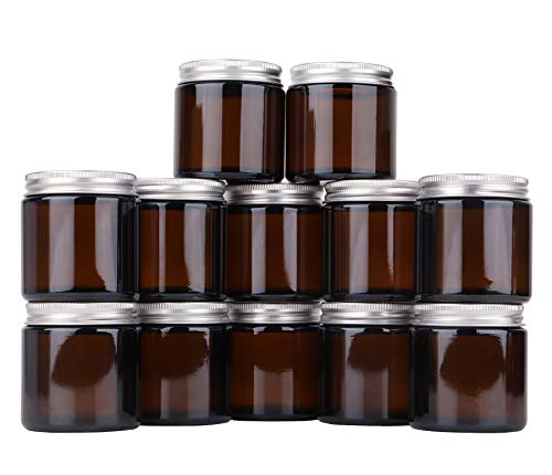 Umoonfine Amber Glass Jars, with Metal lids, 3.4 oz Candle Jars Containers for Candle Making, Lotions, Cosmetics, 12 Pack