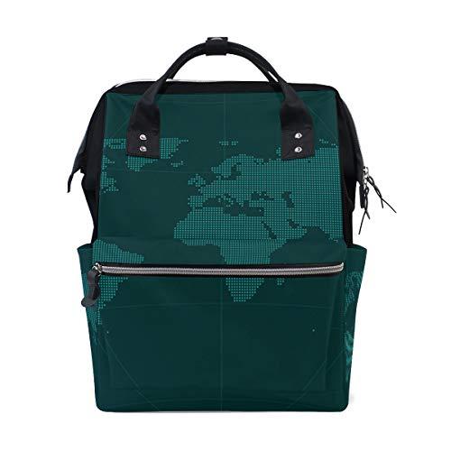 Sac à langer grande capacité pour maman et maman, sac à dos pour soins de bébé, Pixel World Globe Map élégant multifonction étanche Sac à dos de voyage élégant pour maman et papa