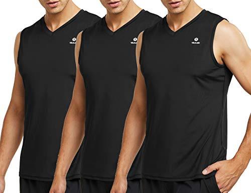 Teleo Herren Tank-Top, ärmellos, für Training, Muskelaufbau, Tank-Shirts, 4black-XL