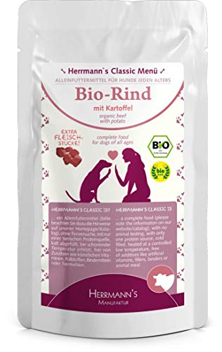 Herrmanns Rind Menu 1 met aardappel, appel, per, selderie, kokosvlokken 130g Bio hondenvoer, 12 x 130 g