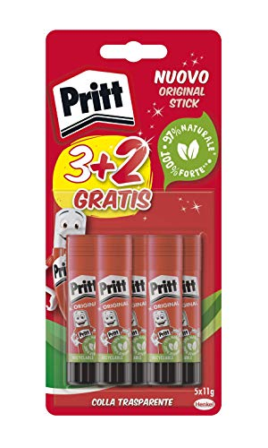 Pritt Colla Stick 5 X 11 gr, Colla per Bambini Sicura e...