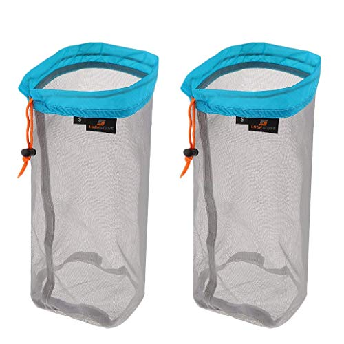 Yundxi Pack of 2pcs Ultralight Ultra Stuff Sacks Set Mesh Drawstring Storage Bags Set Travelling Camping Hiking