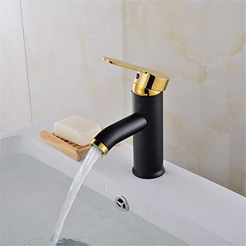YHSGY Waschtischarmaturen Schwarze Farbe Edelstahl Bad Waschbecken Wasserhahn Einhand Kalt- Und Heißwassermischer Torneira Tap
