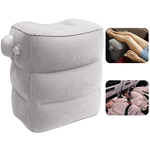 Travel Foot Rest Pillow, Portable Inflatable with Double Hand Pump Adjustable Three Layers Height Pillow for Foot Rest on Airplanes,Cars,Buses,Trains,Office to Sleep on Long Trip (Gray New)