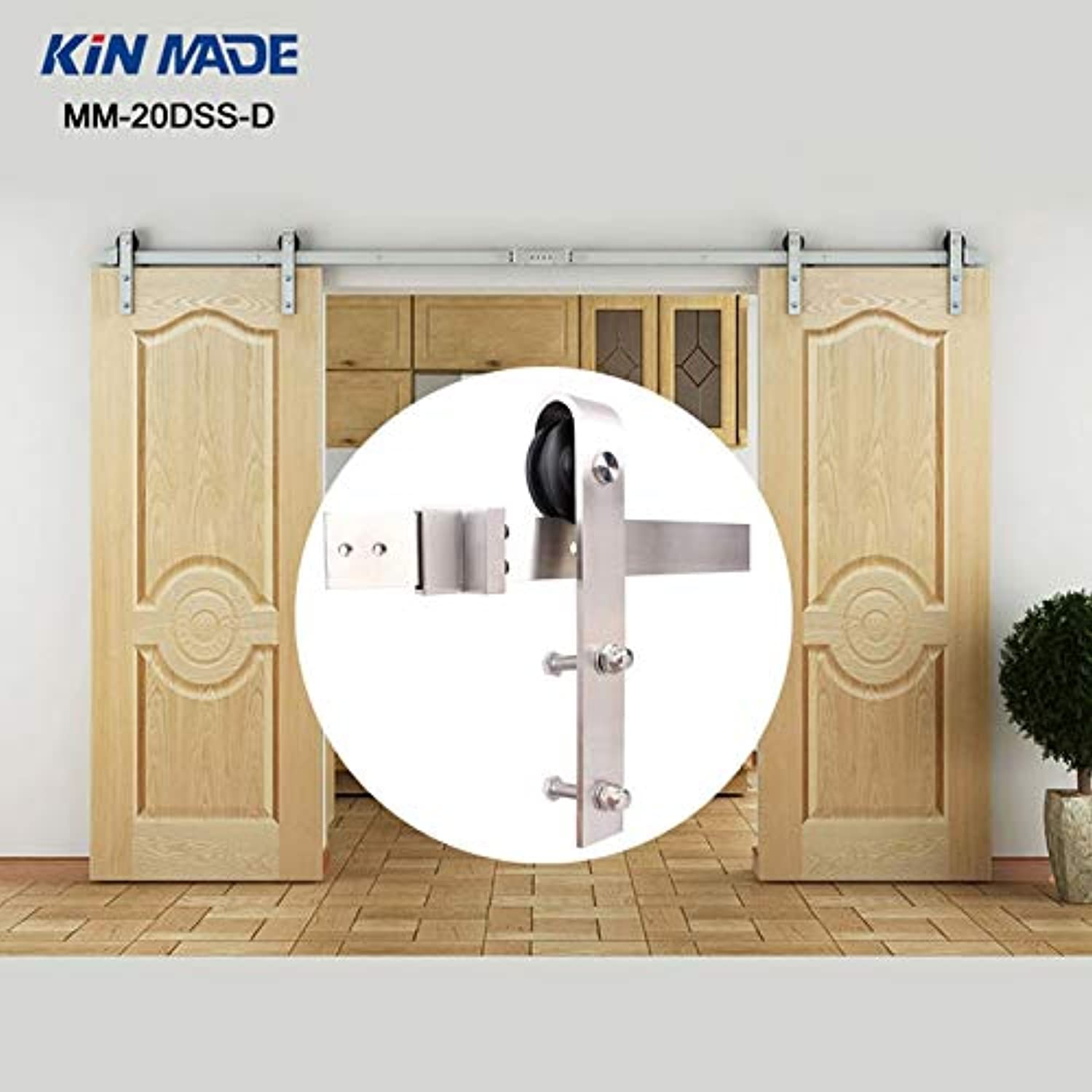 KIN Made 12ft 13.1ft Country Stainless Steel Sliding Barn Double Wood Door Hardware Track Set MM20DSSD  (Length  300cm Double kit)