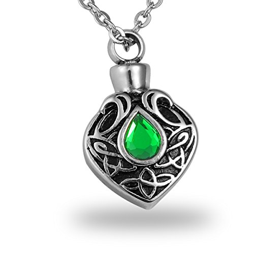 HooAMI Green Crystal Celtic Knot Teardrop Cremation Urn Necklace Memorial Ash Keepsake Stainless Steel Pendant