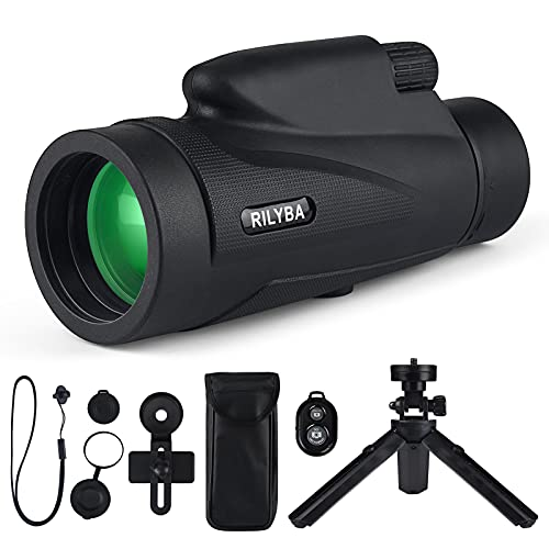 RILYBA 12X50 HD Monocular Telescope with Low Night Vision Waterproof,with Wireless Remote Shutter,Smartphone Adapterand Tripod,for Bird Watching Hunting Camping Travelling Wildlife Secenery
