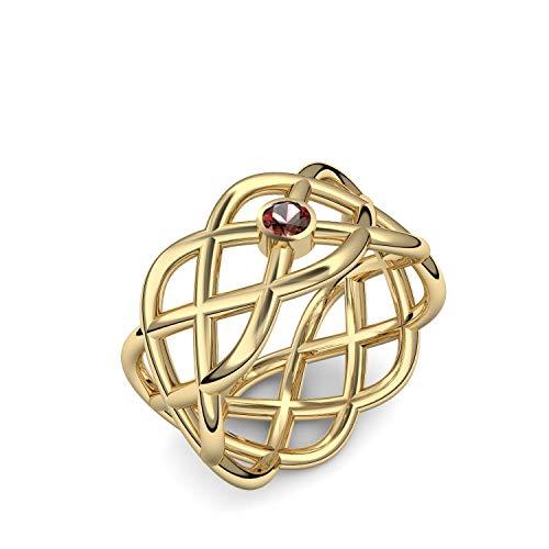 Gold Ring Granat 585 + inkl. Luxusetui + Granat Ring Gold Granatring Gold (Gelbgold 585) - Crossing Amoonic Schmuck Größe 60 (19.1) UW02 GG585GRFA60