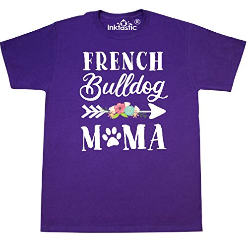 inktastic French Bulldog Mama with Flowers and T-Shirt X-Large Purple 39804