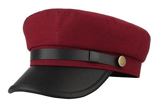 GEMVIE Unisex Classic British Flat Top Fisherman Hat Cotton Breton Fiddler Hat Dark Red
