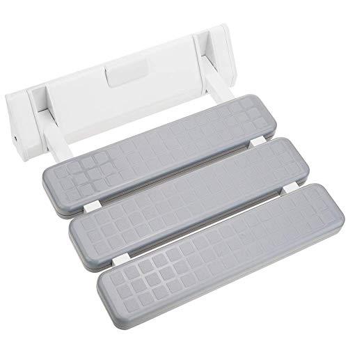 PrimeMatik - Asiento de Ducha abatible. Silla Plegable para Ancianos de plástico y Aluminio Gris 320x328mm