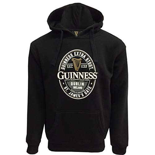 Guinness Label St. James Gate Manica Lunga Uomo Felpa con Cappuccio Nero Small